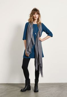 Felted Wool Dress from hush, can't beat felted wool for the colder months. love the boots/tights/dress/grey scarf combo too