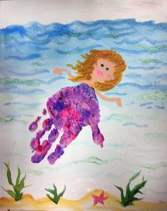 Mermaid Handprint Craft.