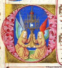 Two angels, kneeling, hold monstrance enclosing wafer. Above monstrance, inscribed ECCE PANIS ANGELORUM on background (Corpus Christi), all within decorated initial C | Gradual | Germany, Nuremberg | 1507-1510 | The Morgan Library & Museum