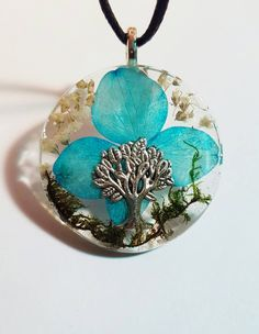 Tree Charm Blue and white flowers green moss resin pendant nature necklace Bohemian Jewelry  https://www.etsy.com/listing/269608672/tree-charm-real-blue-white-flowers-green