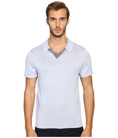 VINCE Wool Silk Jersey Short Sleeve Polo with Tipping. #vince #cloth #shirts & tops
