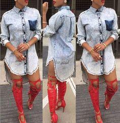 Women Retro Shirt Coat Irregular Denim Lapel Long Sleeve Tops Casual Mini Utar