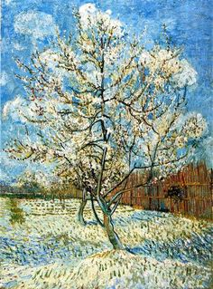 Peach Trees in Blossom, 1888 by Vincent van Gogh. Post-Impressionism. landscape. Van Gogh Museum, Amsterdam, Netherlands