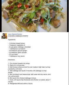 Chicken cabbage stir fry, made this for dinner tonight easy and delicious, I cooked the cabbage longer than it said and added a little extra garlic Cabbage Recipes, Turkey Recipes, Chicken Recipes, Recipe Chicken, Asian Recipes, Healthy Recipes, Ethnic Recipes, Asian Foods, Protein Recipes