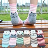 Wish | Fashion High Quality Various Styles Women'S Casual Cotton Socks Cute Cats Winter Autumn Korean Style Knit Socks