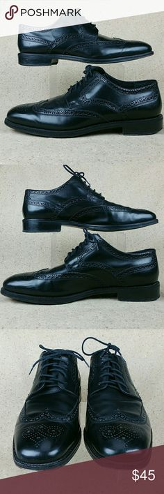 Cole Haan Wingtip Brogue Dress Oxfords Black 10.5m Cole Haan C03059 These shoes are pre-owned in nice condition. Gentle wear on the outside from use includes creases and scuffs. Slight wear to the bottoms mainly in the heels. Look over the pictures carefully before purchasing. Cole Haan Shoes Oxfords & Derbys