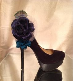 Navy blue flower peacock feather tulle shoe accessory by Ameliorez, $15.00