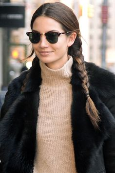 Lily Aldridge // pigtail braids, turtleneck sweater and a black shearling coat #hair #beauty #modeloffduty #style