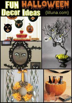 A Roundup of FUN Halloween Decoration Ideas!!! { lilluna.com } Lots of fun and spooky ideas!