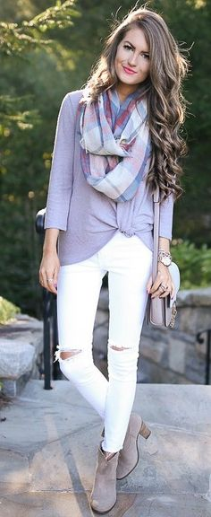 Plaid Scarf + Grey Sweater + White Jeans                                                                             Source