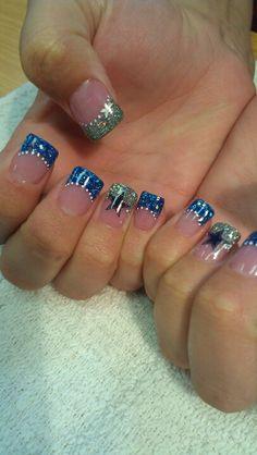 Shidale nails, cowboys, football, blue n silver, stars!