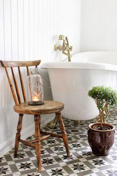 Country bathroom detail & beautiful tiled floor
