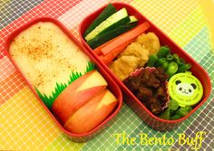 This bento took about 20 minutes to make(with watching anime and accounting for veggie cutting time). In it is cucumber slices, carrot slices, Gardein'sMandarin Orange Crispy Chick'n, Gardein's Be...