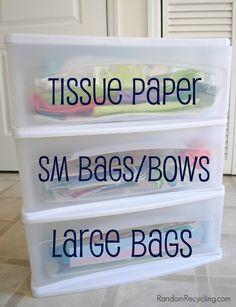 DIY Organized Gift Wrap Storage [Tutorial] : via RandomRecycling.com