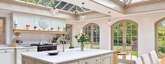 Kitchen Conservatories by Vale Garden Houses. Open Plan Kitchen Living Room, Kitchen Reno, Kitchen Orangery, Mansion Kitchen, Bespoke Kitchens, Conservatories, Nice Ideas, Home And Garden, Mansions