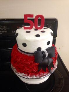 50th birthday rosette polka dot cake