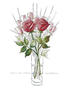 Cross Stitch Flowers, Cross Stitch Patterns, White Roses, Red Roses, Flower Vases, Cross Stitching, Flora, Photo Wall, Embroidery