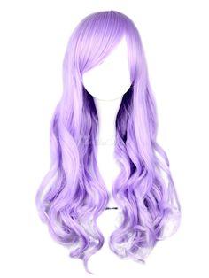 Dandy Lilac Long Curly Rayon Beautiful Lolita Wig - Lolitashow.com