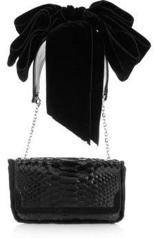 Christian Louboutin Artemis glossed-python shoulder bag | THE OUTNET