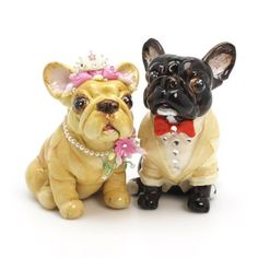 French Bulldog Wedding Cake Toppers I embellished these Bridal Fawn French Bulldog with pink flower and little tiara and she wearing pearl necklace with pink flower embellish with crystal and glitter. Black Brindle Groom French Bulldog wearing Ivory tuxedo, Ivory shirt and red bow tie. I also add glitter that I using my own technique for sparkling. All the embellishments are hand sculpt with beautiful detail. very incredible details... You will amaze with its fine details  www.muddymood.com