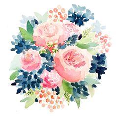 Navy and Pink Garden Roses - Watercolor Print – April Preston Design