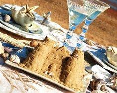 Bring the beach to the table with brown sugar sand castles, mermaids and shells. Beach Fun, Beach Party, Beach Table Decorations, Elegant Dinner Party, Coastal Decor, Coastal Living, Sand Art, Nautical Wedding, Beach Blanket