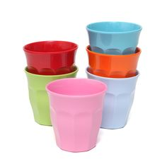 Melamine Cups . Set Of 6 - Bright Colours