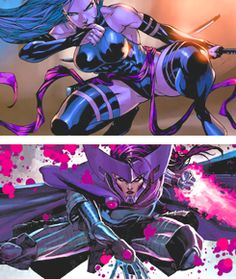 Psylocke from Heroine to Villain Comic Movies, Comic Book Characters, Marvel Characters, Comic Character, Character Design, Marvel Women, Marvel X, Marvel Heroes, Spiderman Girl
