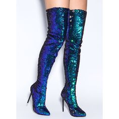 Sequins Of Events Thigh-High Boots GREEN (930 MXN) ❤ liked on Polyvore featuring shoes, boots, green, above the knee boots, above-knee boots, green thigh high boots, thigh high boots and sequin boots