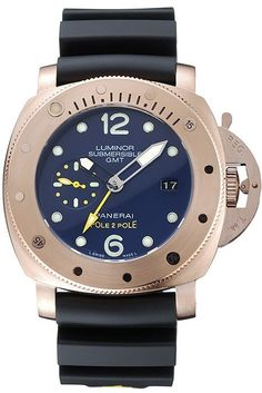 Beautiful Replica Panerai Luminor Submersible 1950 3 Days GMT Automatic Mens Watch with Date, Rose Gold Case and Ribbed Bezel, Black Dial with White Markings and Black Rubber Bracelet