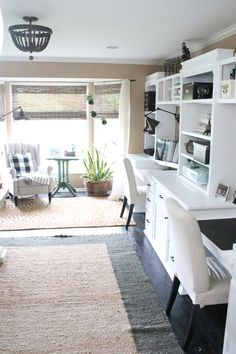 Home office- craft room- reveal- home office space- craft supply storage ideas- One Room Challenge- renovation- home tour- office makeover- One Room Challenge Reveal Week 6- farmhouse style office- neutral decor- built in shelving- styling shelves