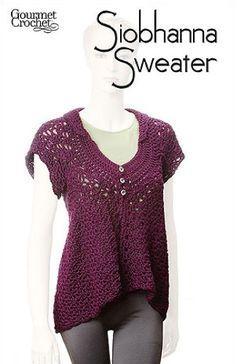 GC60107 Siobhanna Sweater- http://www.maggiescrochet.com/siobhanna-sweater-p-1501.html#.UVrmAVeNpZ0 #crochet #pattern #sweater #fashion #accessories