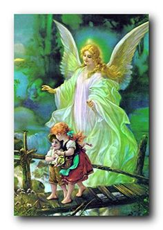 Infuse elegance and sophistication into your kid's bedroom with this wonderful Guardian angel with children religious art print poster. This poster captures the image two cute kids' passed over the bridge and a beautiful angel watching over the children's will make this wall art centre of attraction. This poster is sure to put a smile on your kid's face for sure. Your kid's will definitely enjoy by viewing this wall art as a part of their home.