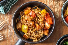Create this classic Sweet and Sour Pork Noodles recipe - an all time family favourite. Pork Noodles, Hello Fresh Recipes, Veggie Stir Fry, Chinese Restaurant, Noodle Recipes, Veggies, Stuffed Peppers, Dishes, Cooking