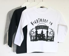 Personalised nightmare in kids halloween t shirt. Perfect halloween outfit! From £14