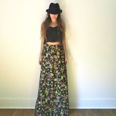 High Waisted Floral Maxi Skirt  //  60s 70s Black Neon Psychedelic Floral Print Maxi Skirt  //  Long Mod Bright Bold Cosmic Skirt