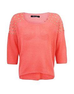 ASOS Fashion Finder | Coral Stud Shoulder Jumper