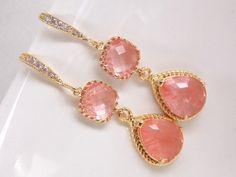 Coral Earrings Glass Earrings Gold Earrings Cubic by mlejewelry