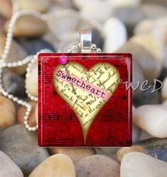 Valentine Glass Pendant Necklace from my good friend, Jen~