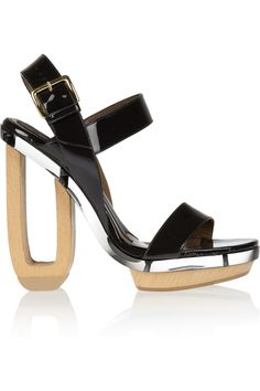 Marni Patent-leather, lucite and wooden sandals - 60% Off Now at THE OUTNET