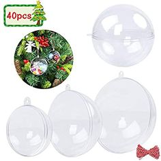 Amazon.com: FUNARTY 40 Pack Clear Ornaments Balls Plastic DIY Fillable Ornaments Christmas Decorations with 10m Rope for Christmas Holiday Wedding Party Home Decor (3 Size 50mm 80mm 100mm): Home & Kitchen