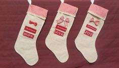 Christmas embroidered stockings