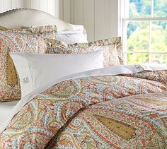For the Fall~Guest Bedroom Agatha Paisley Duvet Cover Sham - Red #potterybarn