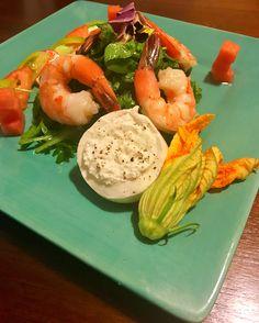 Roasted Shrimp Salad w/ Arugula, Heirloom Tomatoes, Watermelon, Basil Vinaigrette, Buratta, Squash Blossoms