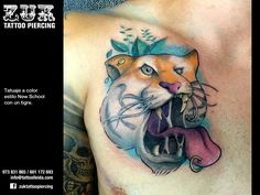 Tatuaje a color estilo New School con un tigre.