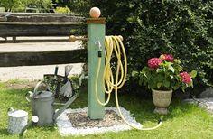 Watering point in the garden Balcony Garden, Lawn And Garden, Garden Projects, Garden Tools, Water Tap, Water Faucet, Lawn Sprinklers, Garden Fountains, Natural Garden