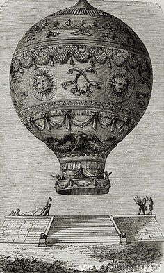 1783 engraving of Montgolfiers' balloon
