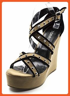 370a818a48d53d Orly Shoes Women s Wide Width Criss Cross Strappy Wedge With Pyramid Studs      Awesome outdoor product. Click the image   Gladiator sandals