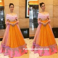 Tamanna Bhatia in Anushree Reddy's Off Shoulder Lehenga-PakeezaAnchal.com