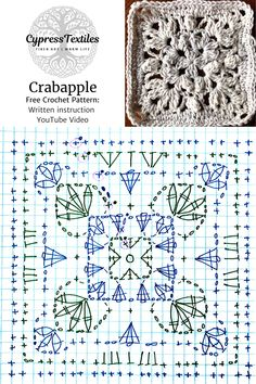 Granny Square Crochet Pattern, Crochet Chart, Crochet Squares, Crochet Motif, Double Crochet, Single Crochet, Crochet Stitches, Filet Crochet, Tricot